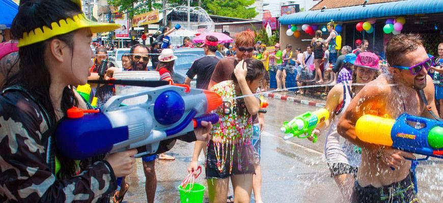 Splashing water to celebrate New Year