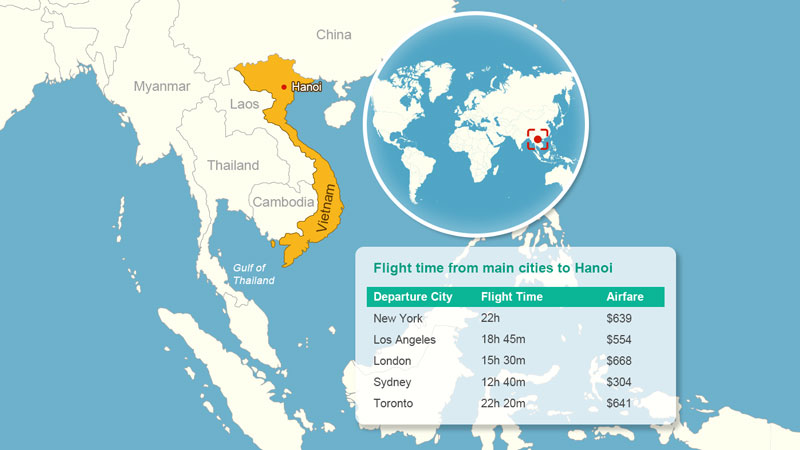 Flight time to Hanoi - Vietnam Flight Route Map