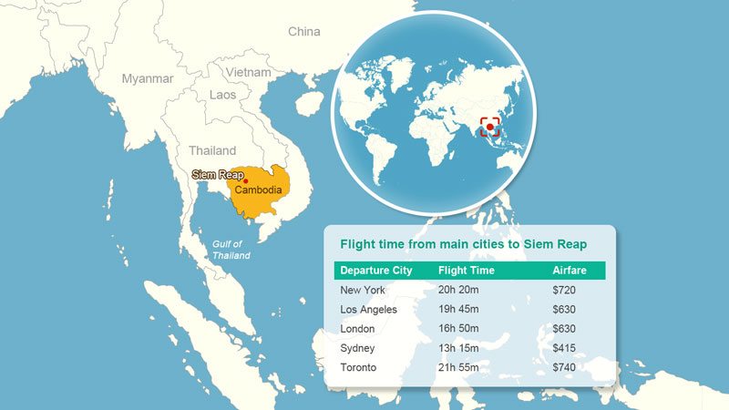 Flight time to Siem Reap - Cambodia Flight Route Map