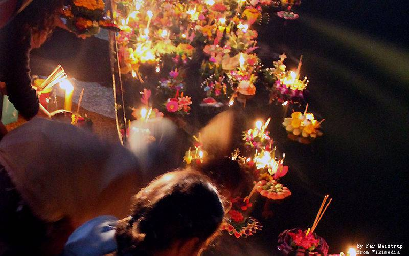 Floating Flower Basket in Loy Krathong Festival