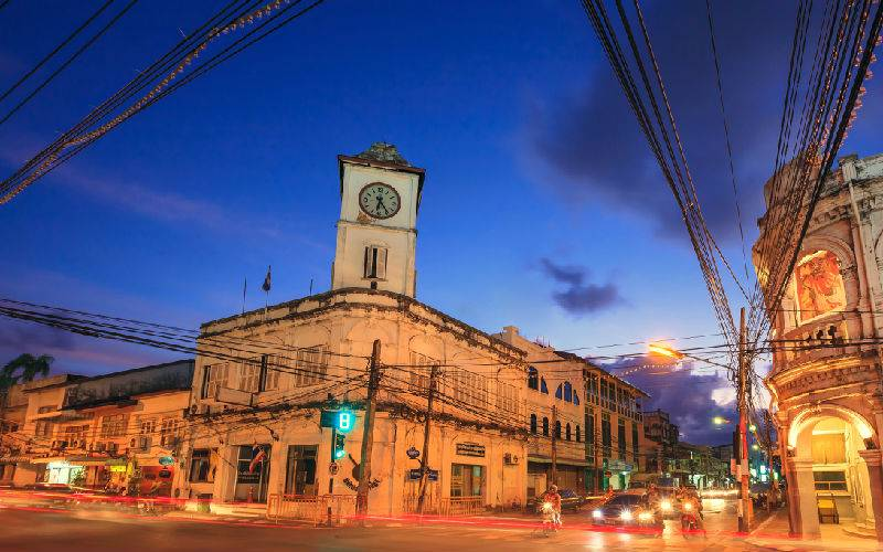 Picture: Old building in Phuket town twilight, Thailand.