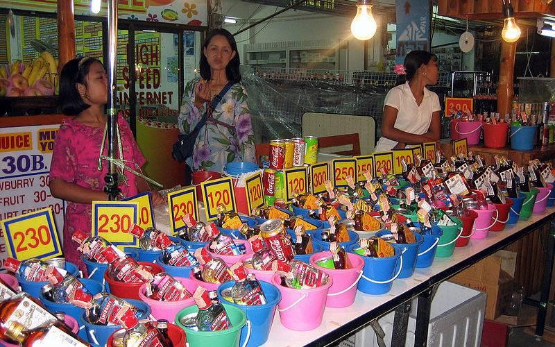 Alcohol buckets in Ko Pha Ngan.