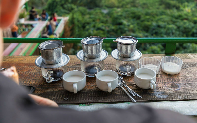 tasting coffee in Vietnam