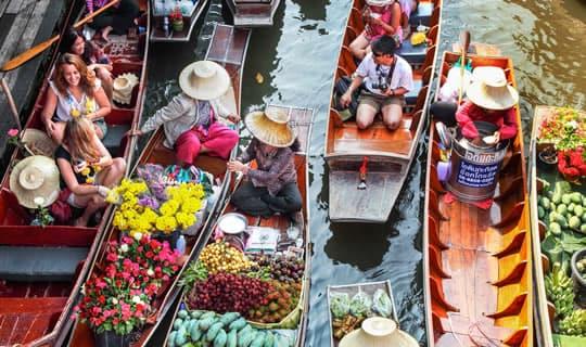 Damnern Saduak Floating Market, Crocodile Farm and Rose Garden One Day Tour with Dinner